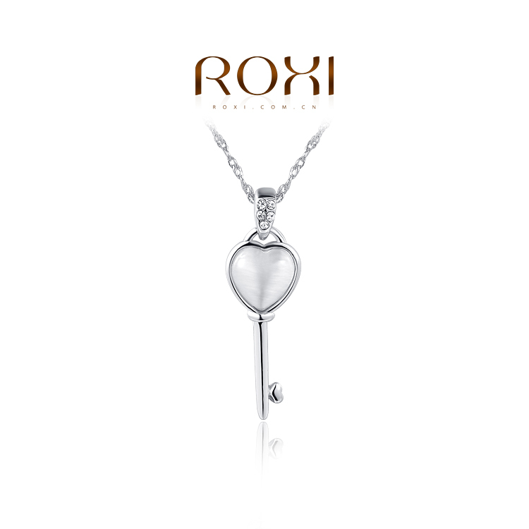 ROXI Fashion Jewelry White Rose Gold Body Chain Opal Heart Key Pendant Necklaces For Women Girls Gift Colares Femininos Pingente(China (Mainland))