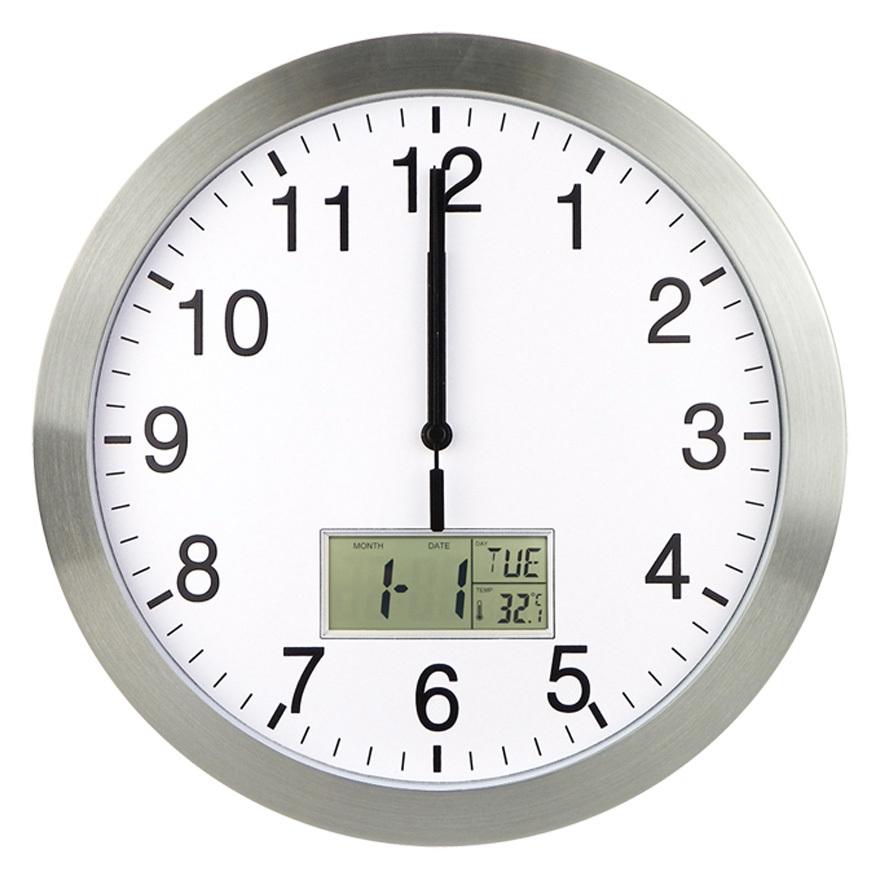 JJY 12'' aluminium alloy round separates quartz modern home radio controlled wall clock with led date(China (Mainland))