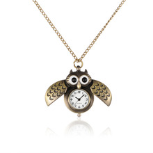 Pocket Watch Alloy Cute Open Close Wing Owl Pendant Necklace Quartz With Iron Chains And Lobster