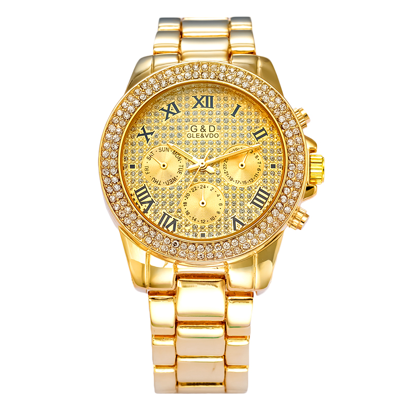 Luxury Steel Watch Women Waterproof Calendar Watch Fashion OL Lady Commercial Watch Roman Numerals Analog Quartz Wrist Watch<br><br>Aliexpress
