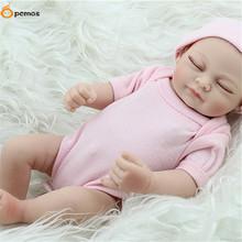 Buy [PCMOS] 2017 New Handmade Real Looking Newborn Girl Baby Vinyl Silicone Realistic Sleeping Reborn Dolls Free Shipping 16011307