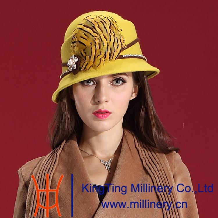 Autumn Winter Women Noble Luxury Dress Wool Felt Hats Natural 100% Dome Set Auger Lace Feather Hat - Shop store