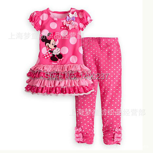 Retail New 2014 Cartoon minnie mouse children clothing set suit girl's dot dress tops shirts + pants suits outfits - The king baby clothes 1 store