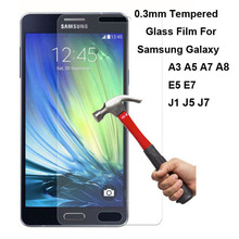New Explosion Proof Premium Real Tempered Glass Film Screen Protector Guard For Samsung Galaxy A3 A5 A7 A8 E5 E7 J1 J5 J7(China (Mainland))