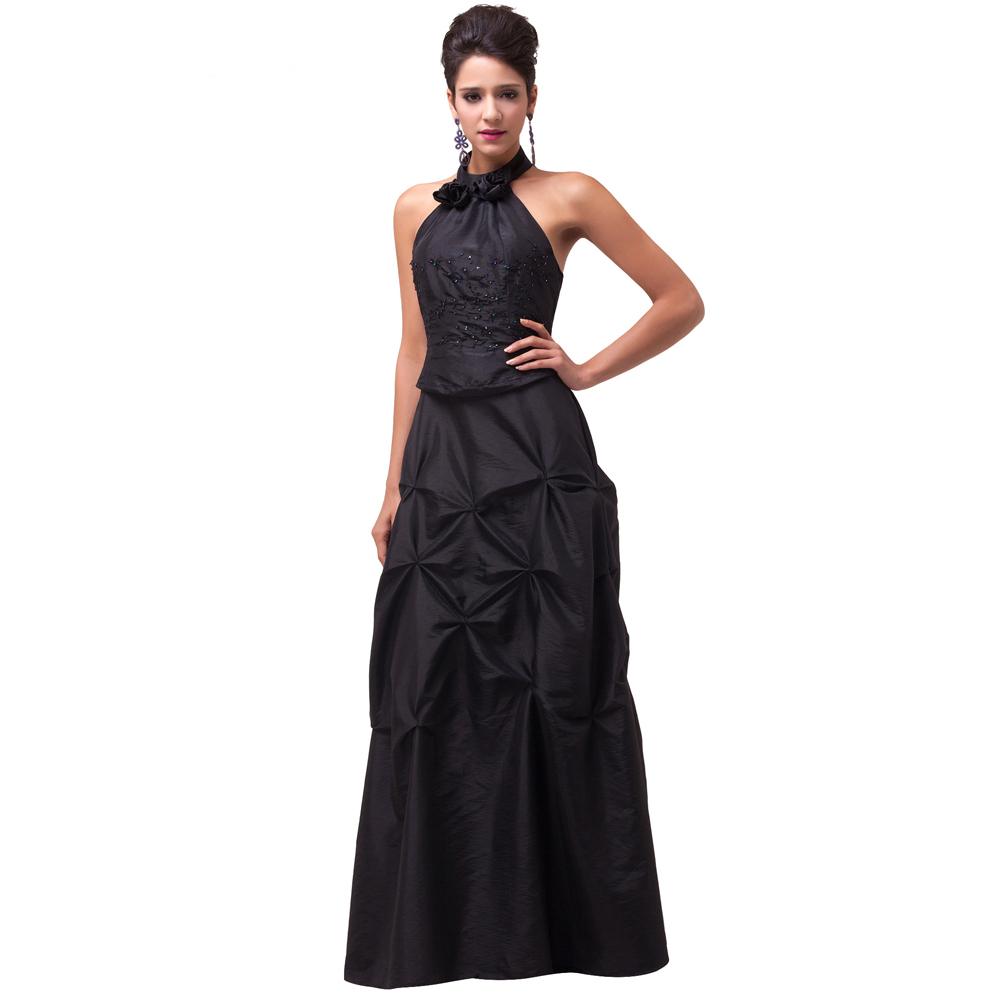 2015 Grace Karin Women Long black Halter Backless evening dress elastic back design taffeta ball gown formal party dresses(China (Mainland))