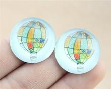 5pcs 25mm or 20mm hot air balloon photo Pattern domed glass cabochon Handmade diy pendant G20-0208 G25-0208(China (Mainland))