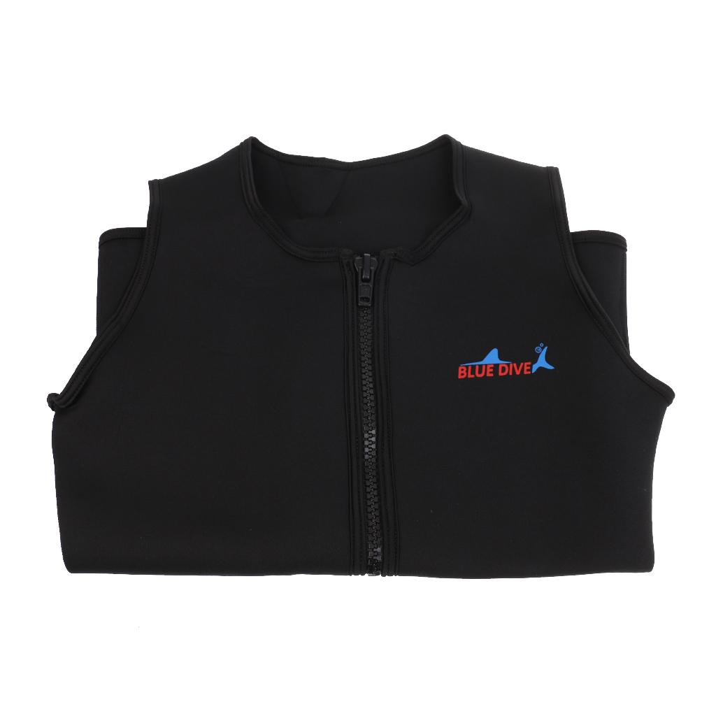 Black Men Women Unisex 2mm Neoprene Wetsuit Vest Top Shirt Jacket Swimwear Equipment for Diving Spearfishing Size S M L XL XXL