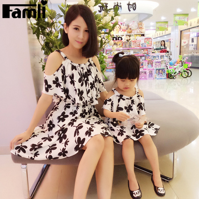 Famli 1 шт. мать дочь платье одежды мама лета девушки мода цветочный принт рукавов ...