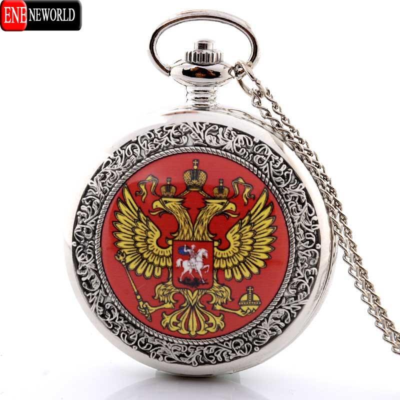 Vintage Bronze Soviet Tsar Sickle hammer Quartz Pocket Watch Steampunk Necklace Pendant New Year Gift