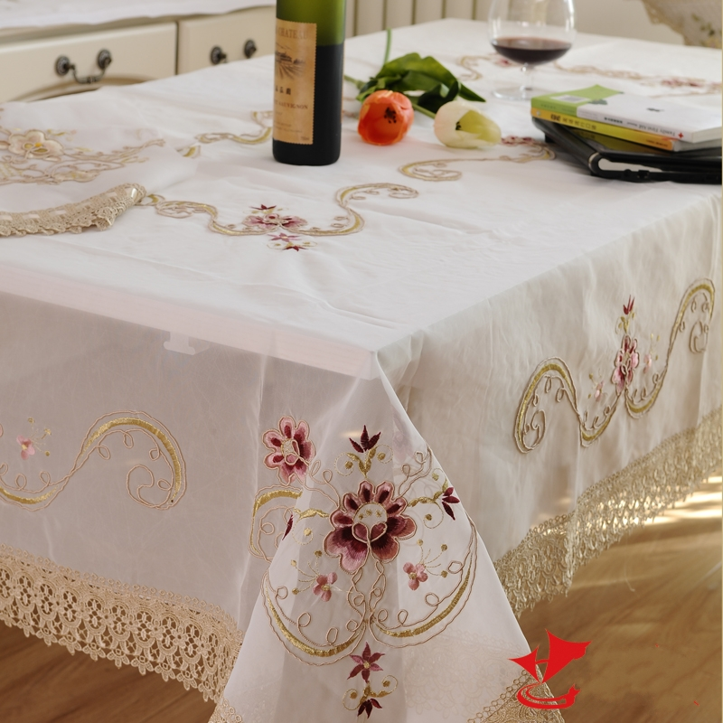 White Lace Tablecloth Rectangle Embroidery tablecloth Set Flower Table ...