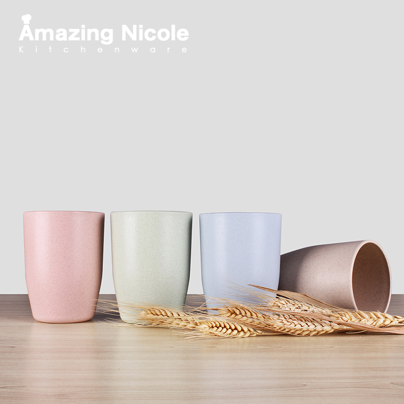 4-Piece Natural Organic Wheat Straw Coffee Wine Beer Cup Eco-friendly Tea New Technology Design - Amazing Nicole store