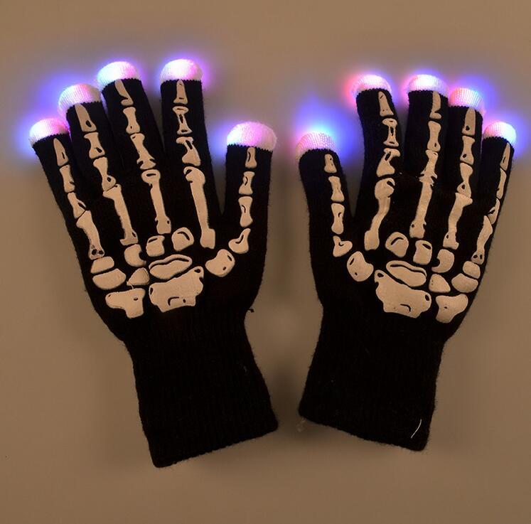 2pcs(1 pair) LED Glow Gloves Rave Light Flashing Finger Lighting Glow Mittens Magic Black luminous gloves Party Accessory(China (Mainland))