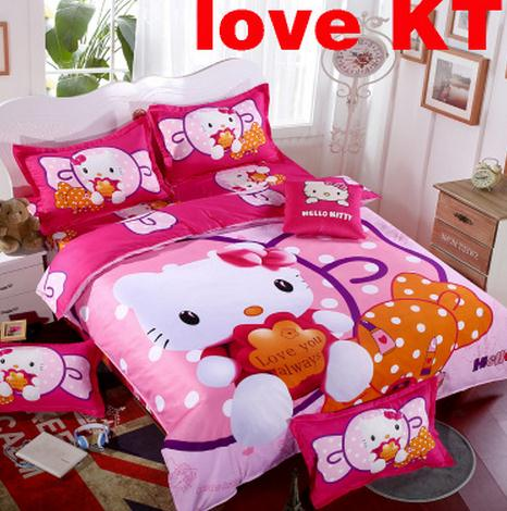 Home Textile Birthday Gift Cartoon 3D Hello Kitty Girls Bedding Set 3/4pcs Pink Duvet Cover Bed Sheet Children Kids Bed(China (Mainland))