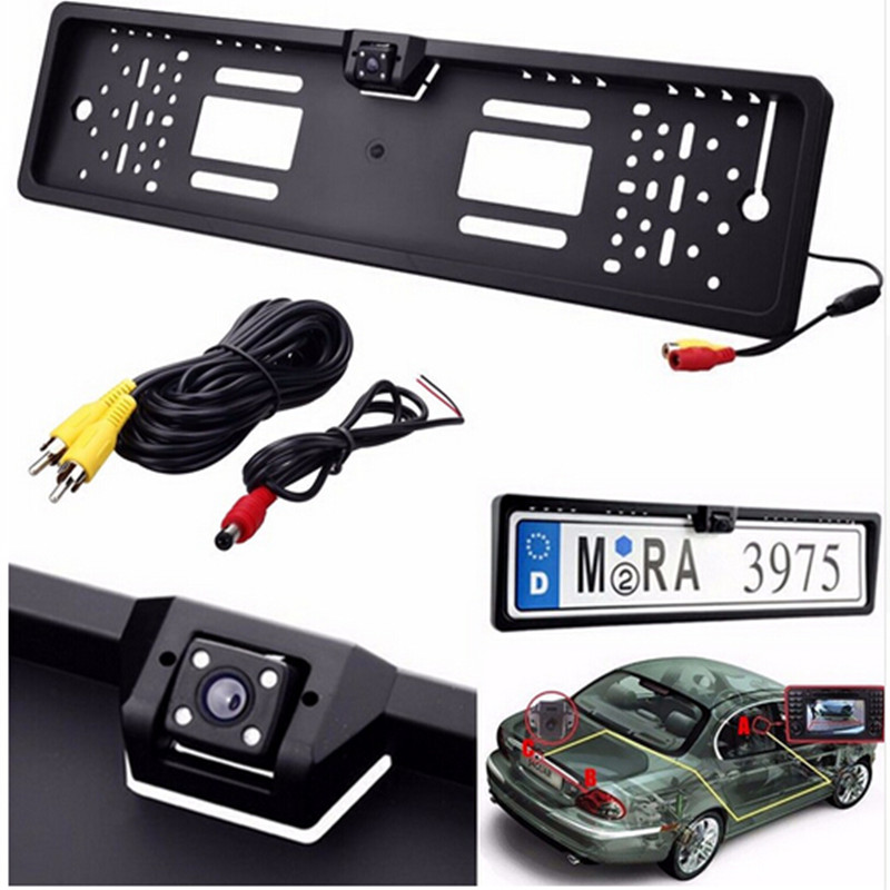 New Europe license plate frame 170 European Universla Car License Plate Frame Auto Reverse Rear View Backup Camera 4 LED(China (Mainland))