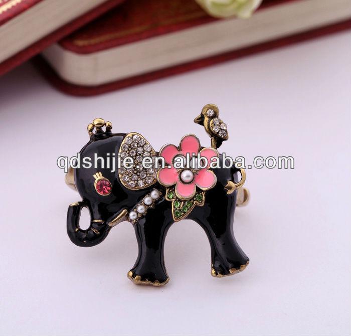 New Designs 2013 Wholesale Charming Fashion Jewelry Elephant Double Elastic Ring(China (Mainland))