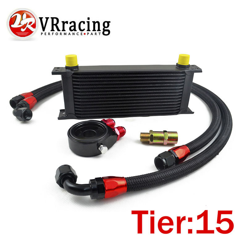VR RACING-UNIVERSAL 15 ROWS OIL COOLER+OIL FILTER SANDWICH ADAPTER BLACK + SS NYLON STAINLESS STEEL BRAIDED AN10 HOSE