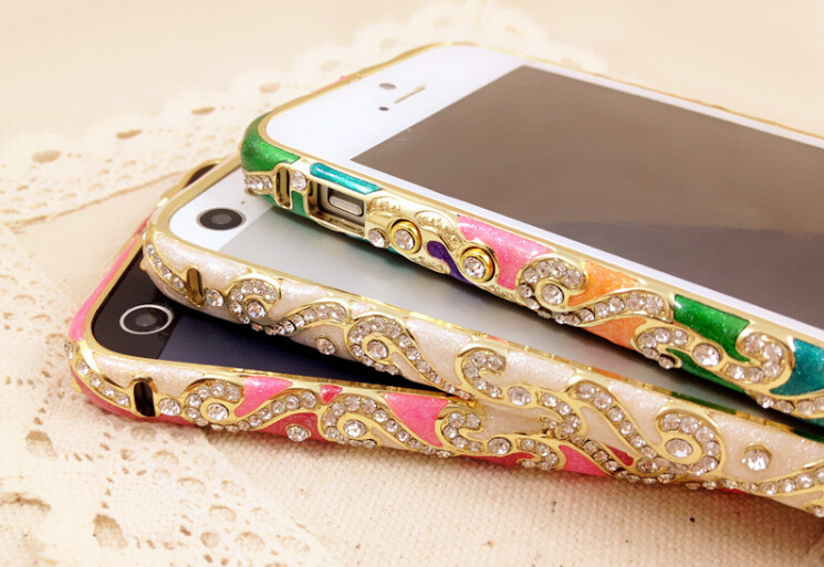 For iPhone 5 5S Luxury China Ceramic Design Delicate Metal Bumper Metal Diamond Crystal Bumper porcelain Cloisonne Phone Case(China (Mainland))