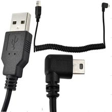 New 5Ft Spiral Coiled USB MINI 5Pin 5P right angle Male to USB 2.0 A male plug Cable