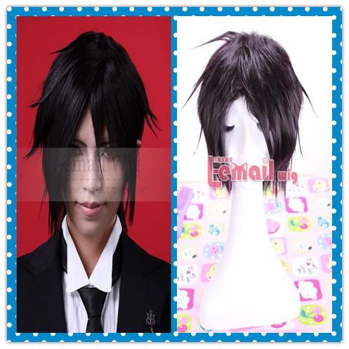 Cheap purple black Sebastian Michaelis kuroshitsuji Synthetic Cosplay party wig RW38(China (Mainland))