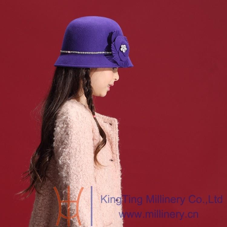 Скидки на Маленькие девочки мягкие фетровые шляпы 100% шерсть дети свадьба ну вечеринку головные уборы горный хрусталь войлок шляпы и шапки