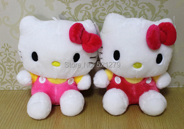 Free Shipping 1pcs 20cm stuffed Hello Kitty plush toy with bow ,very cute hello kitty gift toy,kitty plush for lover/valentine(China (Mainland))