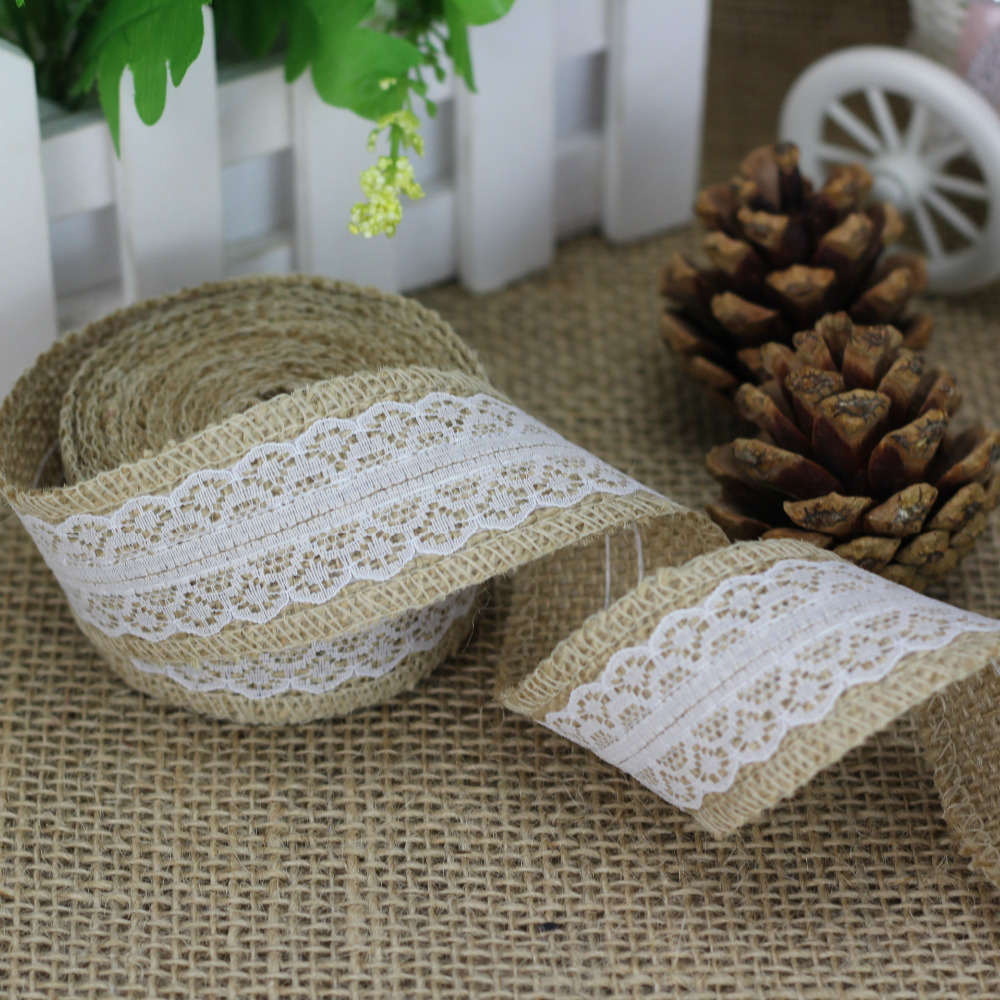 5 Meter Rural Linen Ribbon Wedding Decorative Accessories Natural Jute Burlap Roll for Table Runner Tablecloth(China (Mainland))