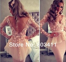 Real Pictures Myriam Fares Sexy Sheer V-neck Long Sleeve Appliques Lace Knee Length Party With Peplum Celebrity Dresses(China (Mainland))
