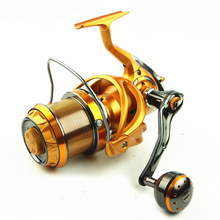 Buy AZJ 2017 Top Surfcasting Fishing Reel Feeder far Carp Cast Sea Spool Peche Wheel Spinning Drag Handle carbon for $140.40 in AliExpress store