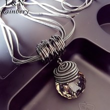 Rainbery 2017 New Women Pendant Necklaces Big Drop Long Paragraph Sweater Chain All-match Decorative Crystal Necklace Pendant