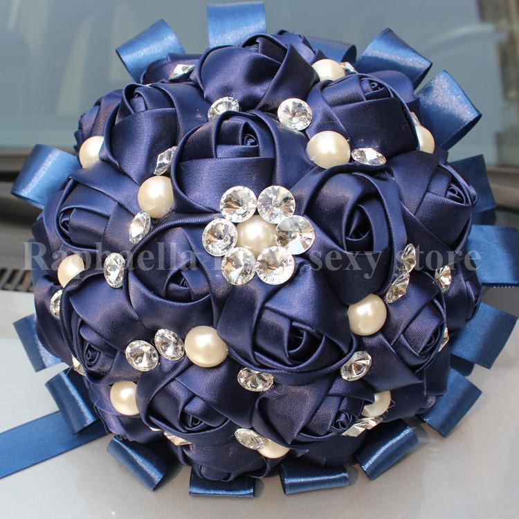 Free Shipping 100% Custom Hand Made Decorative navy flower Satin Rose Flower Pearl Rhinestone Jewelry Bridal wedding bouquet(China (Mainland))