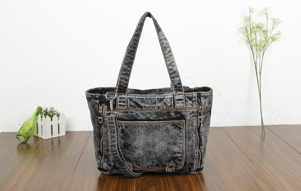 New Fashion Vintage Pocket Solid Jeans Denim Women Bags Ladys HandBags Shoulder Tote purse Bag Free Shipping<br><br>Aliexpress