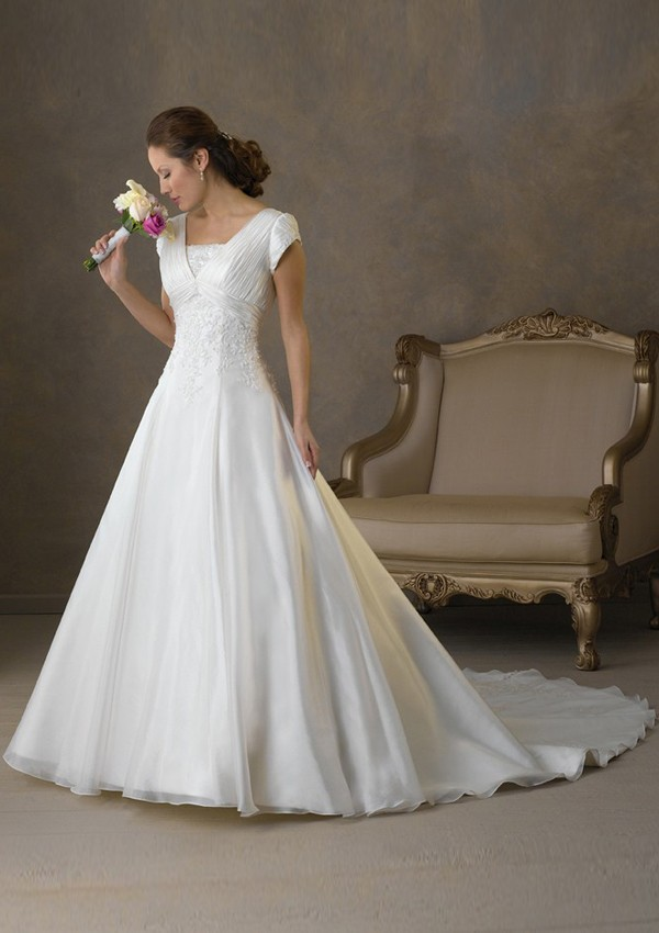 Free Shipping High Quality A-line Square Neck Short Sleeve Chapel Trailing Organza Bridal Wedding Gowns(China (Mainland))