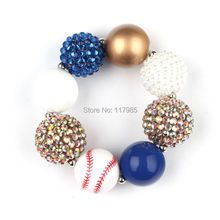 2016 Newest Baseball Chunky Bracelet Blue Gold White Beads Kids Girls Bubblegum Bracelet 3Pcs/lot(China (Mainland))