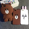 Cartoon Capa Cases 3D Teddy Bear Rabbit Cute Animal Coque Silicone Phone Case Cover For iPhone