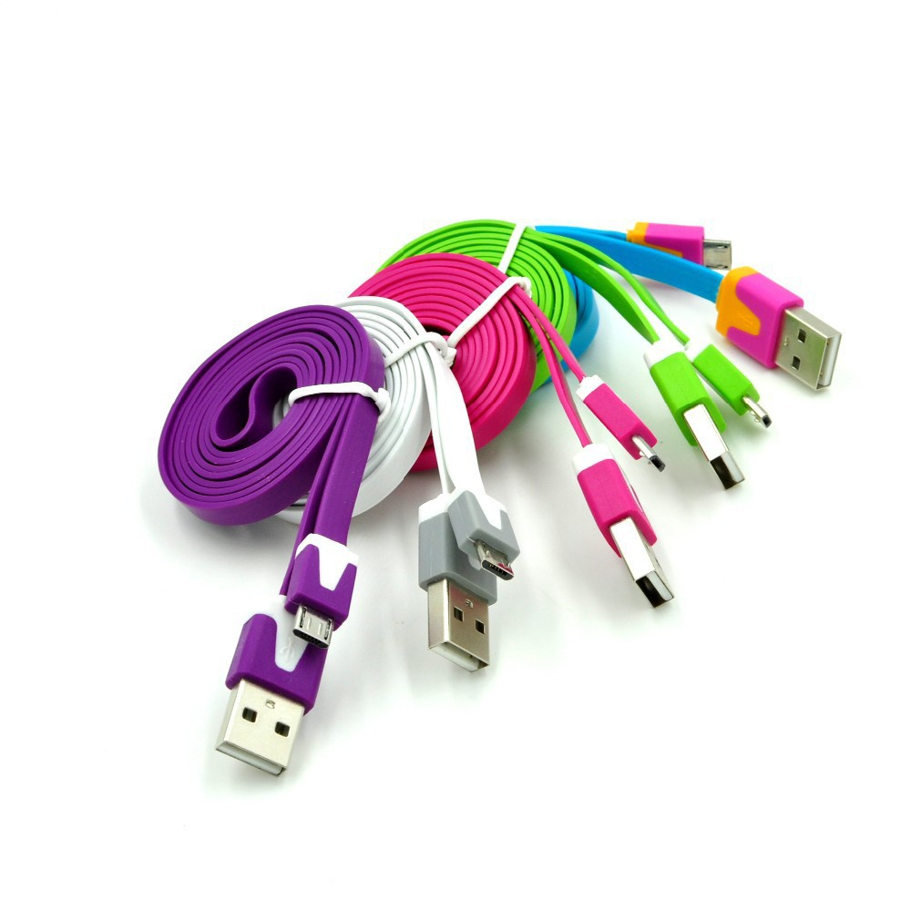 1M 3ft Colorful Flat Micro Usb Sync Data & Charge Cable Charging Cord For Samsung S3 S4 for HTC For Nokia For Android phones(China (Mainland))
