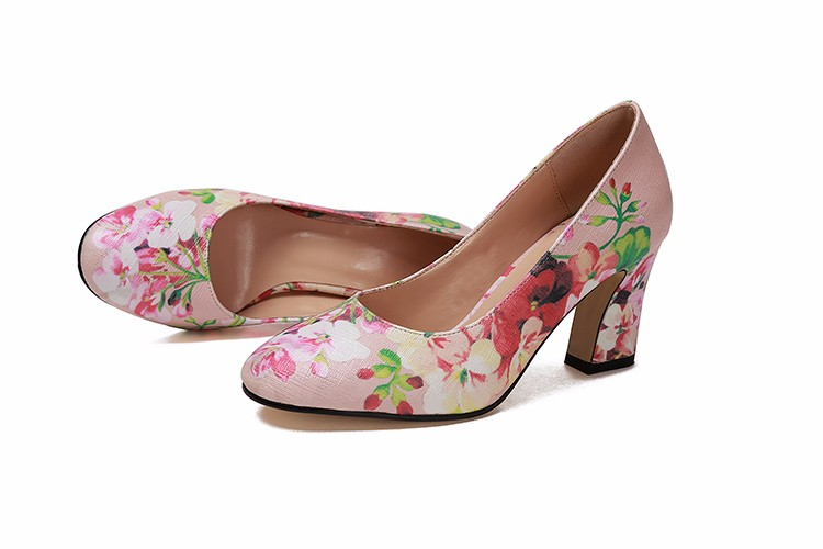 Women Summer Sheepskin Round Toe Flowers Traditional National Style High Heels Shoes Genuine Leather Fashion Comfortable Shoes 6