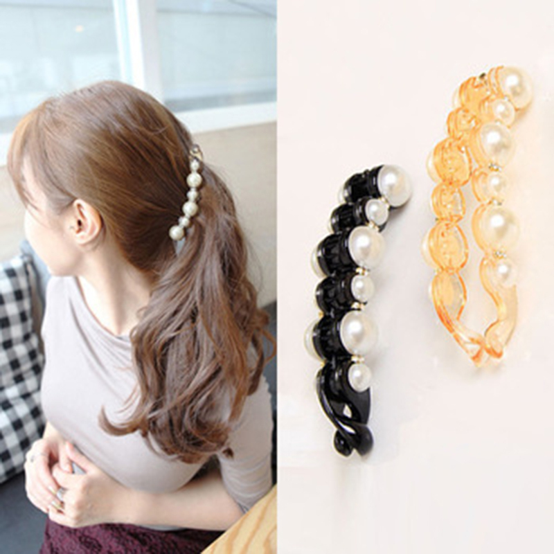 Special Design Orange & Black Beautiful Pearls Hairpins Hair Jewelry Banana Clips Headwear Hair Accessories for Women(China (Mainland))