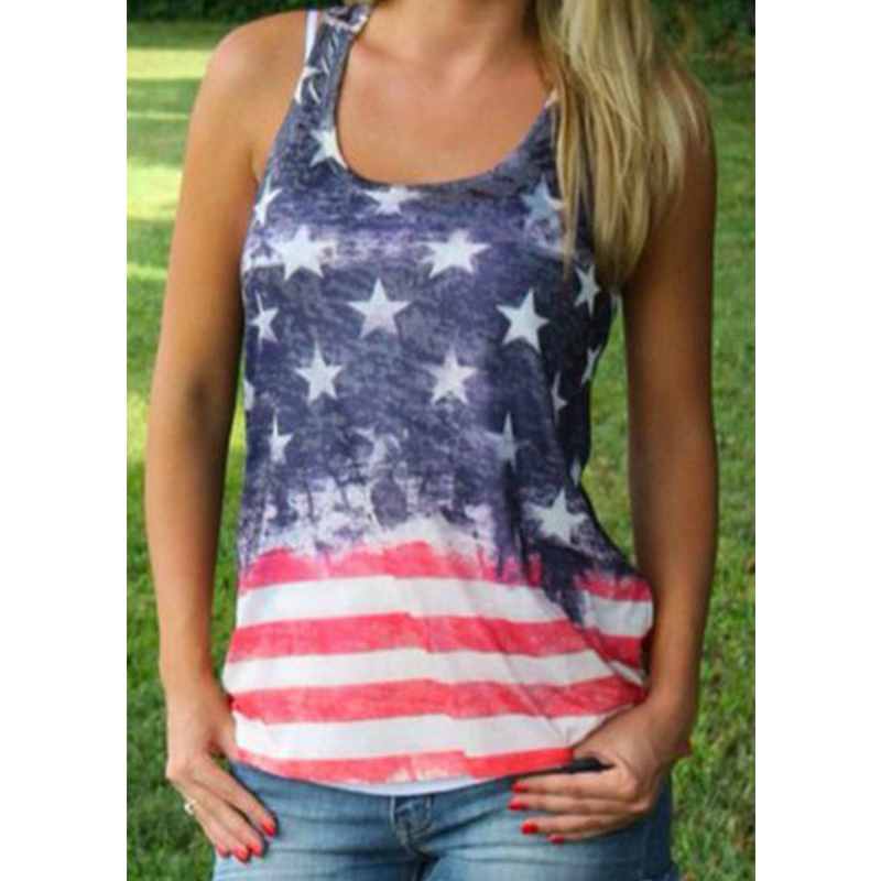 2015 New Women Casual T shirt Tops Stars and Stripes Print T Shirt American Flag Print Tops T Shirt Tanks X60*E3502(China (Mainland))