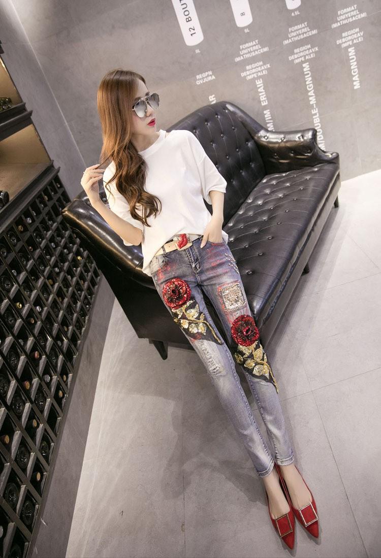 Скидки на Европейская Мода Бисероплетение Блестками Отверстие Вышивка Прямо Капри Карандаш Брюки Джинсовые Джинсы A-143