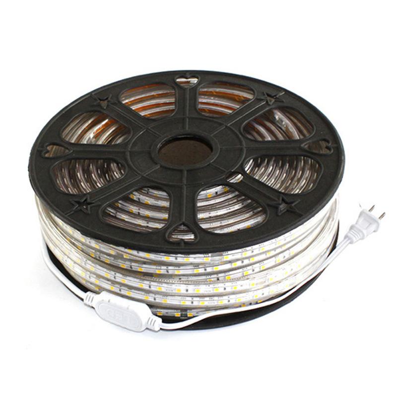 50ft 110V 220V ac 50ft Flexible LED Strip Lights 3528 SMD 60 Leds Waterproof Accessories Included LED Rope Lights(China (Mainland))