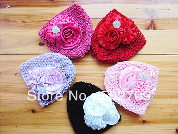 (10 pieces/lot)Quality Satin Flower With Rosette Rhinestone Beads Baby Hat Girls Headwear Photo Prop Crochet Infants caps