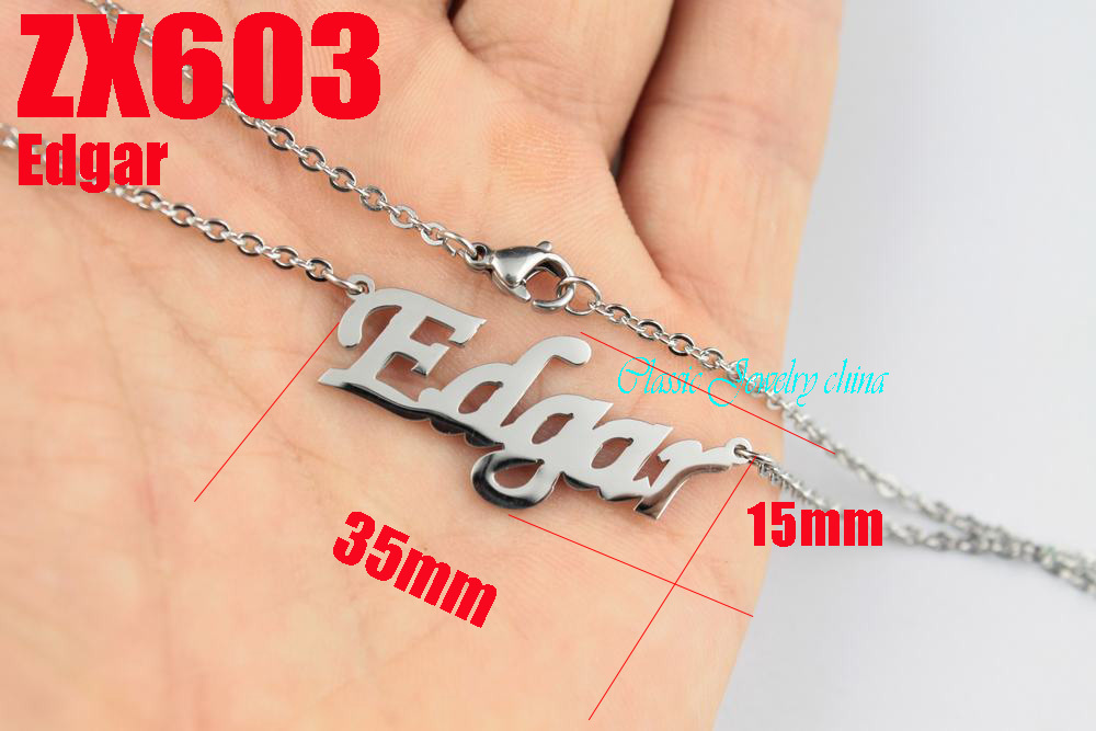 200pc Edgar The World Cup letter chain with 2mm cross chain 18-26 length stainless steel necklace lady jewelry ZX603<br>