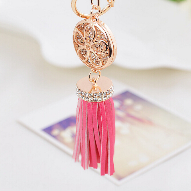 Luxury PU Leather Tassel Bag Charm With Bow Key Chains Gold Metal Keyring Keychains For Phone porte cle chaveiros sleutelhanger(China (Mainland))
