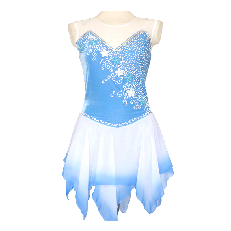 Customized Costume Ice Figure Skating Gymnastics Dress Competition Adult Child Girl Skirt Performance Sky Blue Gradient(China (Mainland))