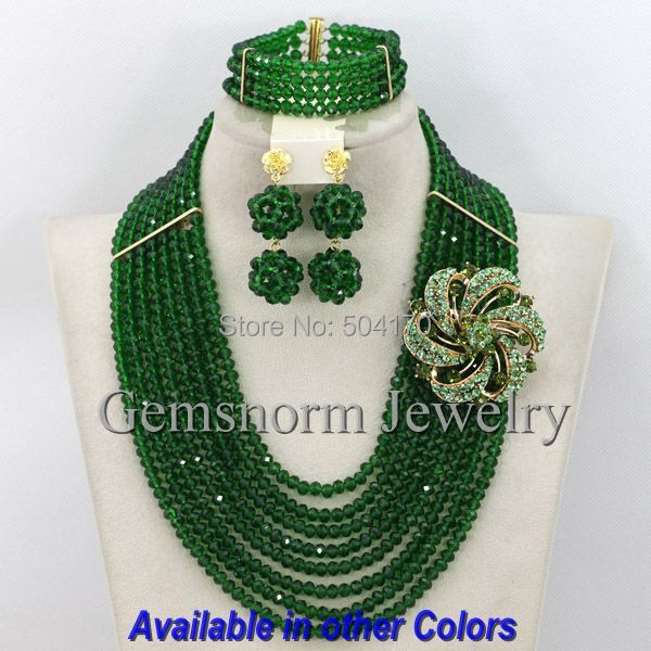 2015 New Dark Green Nigerian African Beads Jewelry Set Lady Party Beads Jewelry Set Free Shipping GS333(China (Mainland))