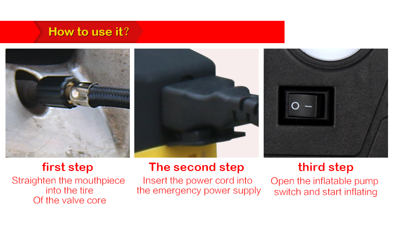 multifuctional Car Auto Air Inflatable Pump portable Emergency car tire inflator pump suitable for inflating tyres and balls