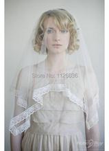 French Alencon LACE EDGE Short Veil Gorgeous Ivory and White Silk Tulle Custom made Wedding Veil(China (Mainland))