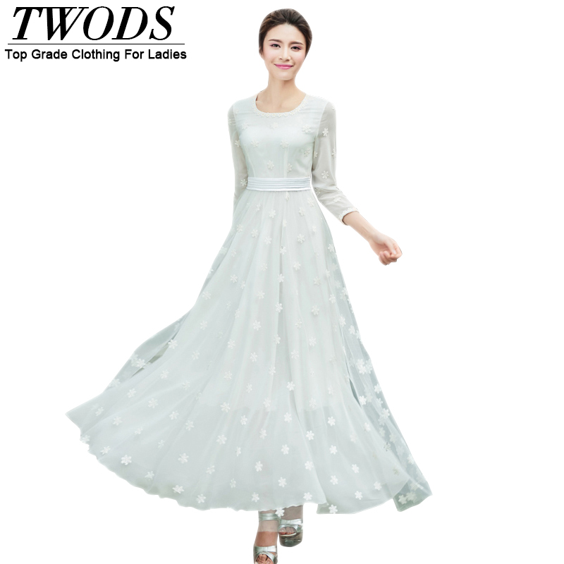 Twods Plus Size 4XL Mesh Overlay Women Chiffon Maxi Dress Three Quarter Sleeve O-neck White Summer Beach Long Dresses Embroidery