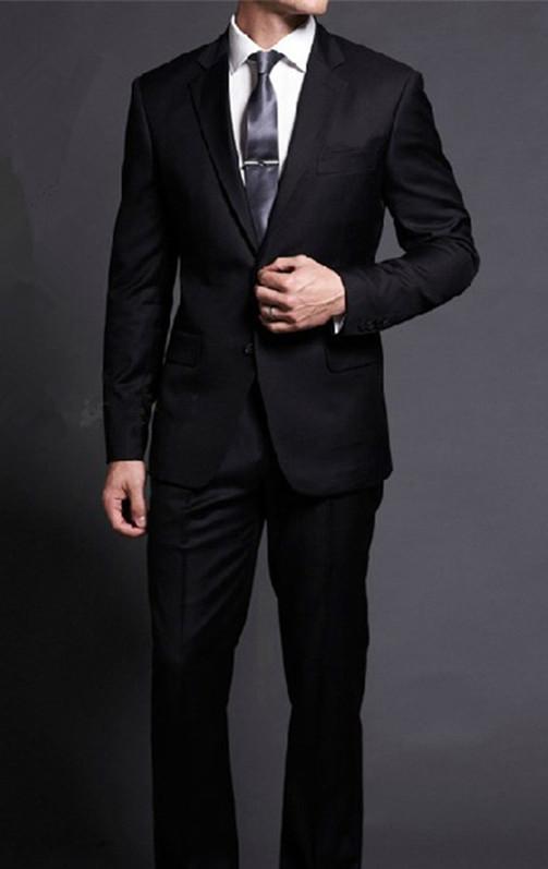 Мужчины уменьшают подходящий костюмы с брюками смокинг свадьба последние конструкции пальто брюки 2015 новое поступление мода черный мужской костюмы прямая поставка