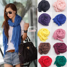 Hot Sale 2015 New Brand Fashion Cotton&Flax Blending Summer Scarf Women 180*50cm Solid Long Women's Shawl Cachecol Feminino(China (Mainland))